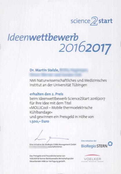 Science2Start Urkunde